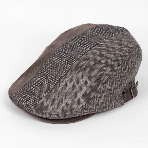 ハンチング メンズ レディース ブラウン 茶色 ヘリンボーン グレンチェック ソリッド 3枚 はぎ 切替 ツイード 毛織 キャップ 帽子 58cm 調整可|coconoco|02