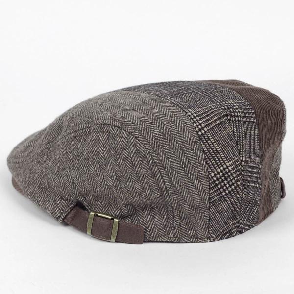 ハンチング メンズ レディース ブラウン 茶色 ヘリンボーン グレンチェック ソリッド 3枚 はぎ 切替 ツイード 毛織 キャップ 帽子 58cm 調整可|coconoco|03
