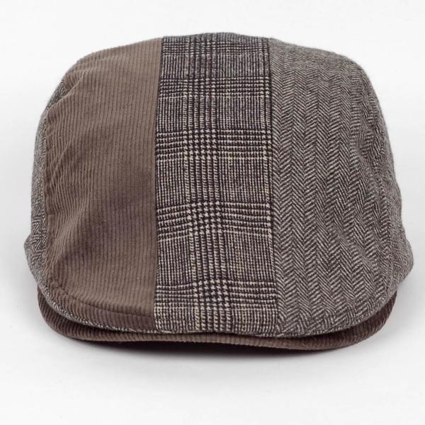 ハンチング メンズ レディース ブラウン 茶色 ヘリンボーン グレンチェック ソリッド 3枚 はぎ 切替 ツイード 毛織 キャップ 帽子 58cm 調整可|coconoco|04