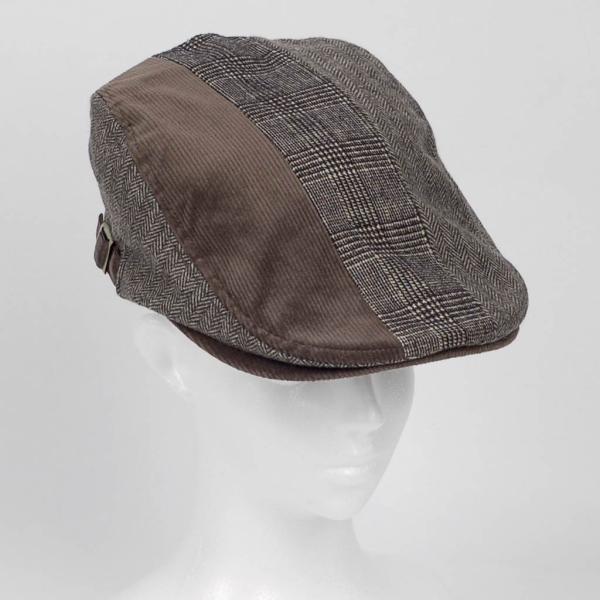 ハンチング メンズ レディース ブラウン 茶色 ヘリンボーン グレンチェック ソリッド 3枚 はぎ 切替 ツイード 毛織 キャップ 帽子 58cm 調整可|coconoco|05