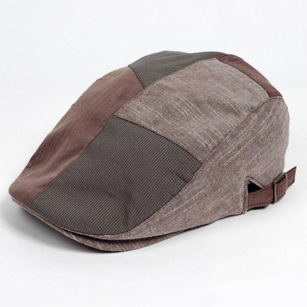 ハンチング メンズ レディース コットン リネン 4枚ハギ ブラウン 茶色 帽子 58cm サイド調整スナップベルト付き BROWN|coconoco