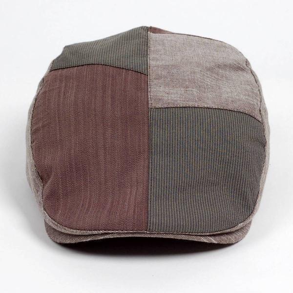 ハンチング メンズ レディース コットン リネン 4枚ハギ ブラウン 茶色 帽子 58cm サイド調整スナップベルト付き BROWN|coconoco|02