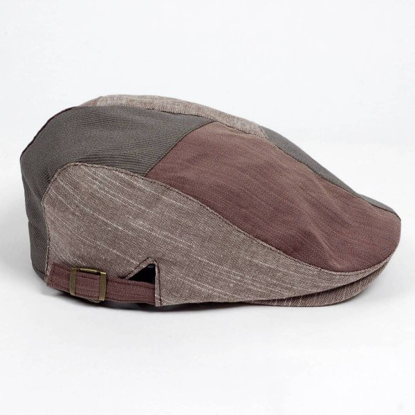 ハンチング メンズ レディース コットン リネン 4枚ハギ ブラウン 茶色 帽子 58cm サイド調整スナップベルト付き BROWN|coconoco|03
