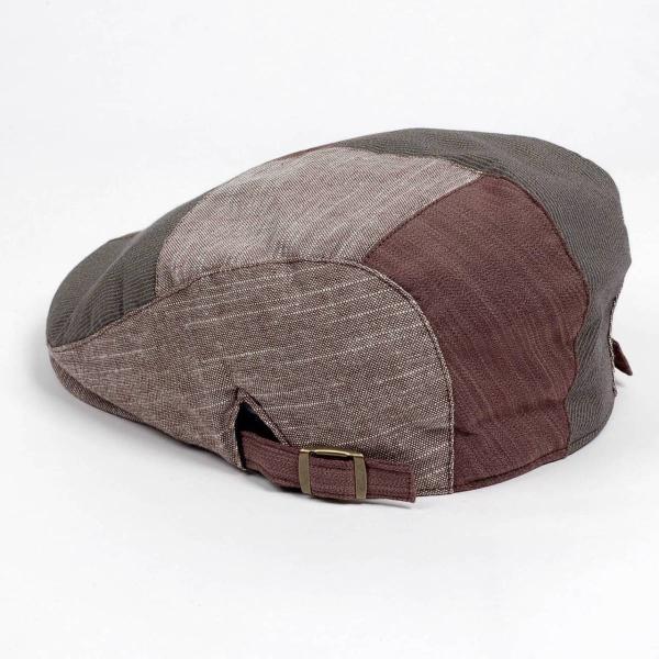 ハンチング メンズ レディース コットン リネン 4枚ハギ ブラウン 茶色 帽子 58cm サイド調整スナップベルト付き BROWN|coconoco|04