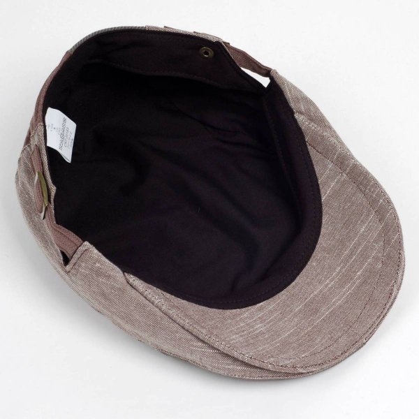 ハンチング メンズ レディース コットン リネン 4枚ハギ ブラウン 茶色 帽子 58cm サイド調整スナップベルト付き BROWN|coconoco|05