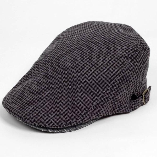 ハンチング メンズ レディース ブラック サマー ハウンドトゥース マイクロ千鳥 帽子 58cm サイド調整スナップベルト付き BLACK|coconoco