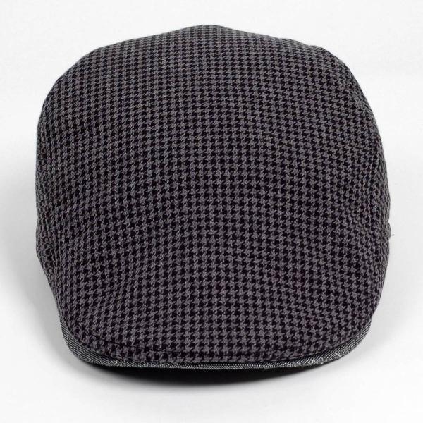 ハンチング メンズ レディース ブラック サマー ハウンドトゥース マイクロ千鳥 帽子 58cm サイド調整スナップベルト付き BLACK|coconoco|02