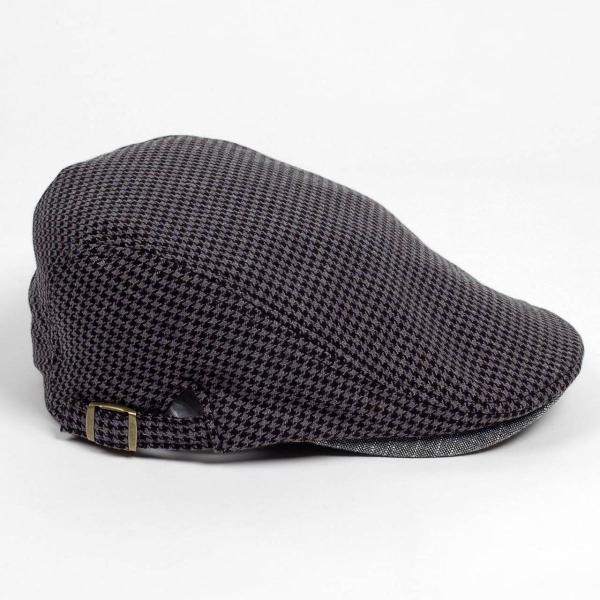 ハンチング メンズ レディース ブラック サマー ハウンドトゥース マイクロ千鳥 帽子 58cm サイド調整スナップベルト付き BLACK|coconoco|03