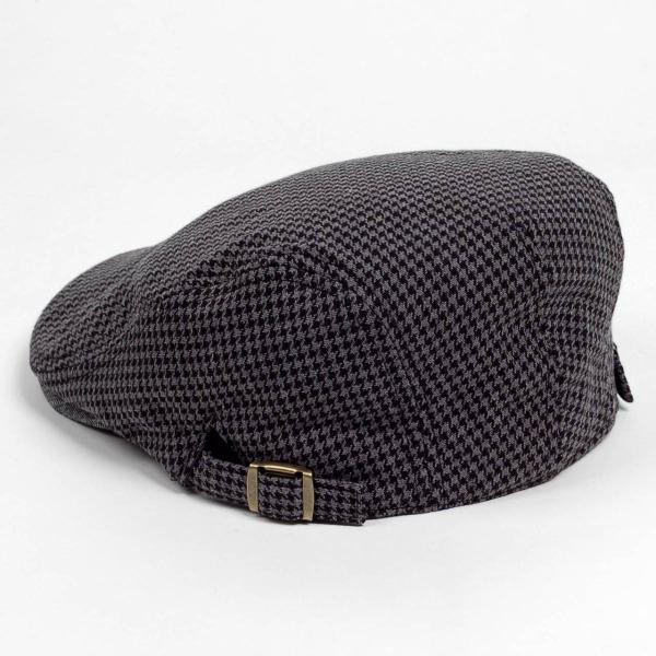 ハンチング メンズ レディース ブラック サマー ハウンドトゥース マイクロ千鳥 帽子 58cm サイド調整スナップベルト付き BLACK|coconoco|04