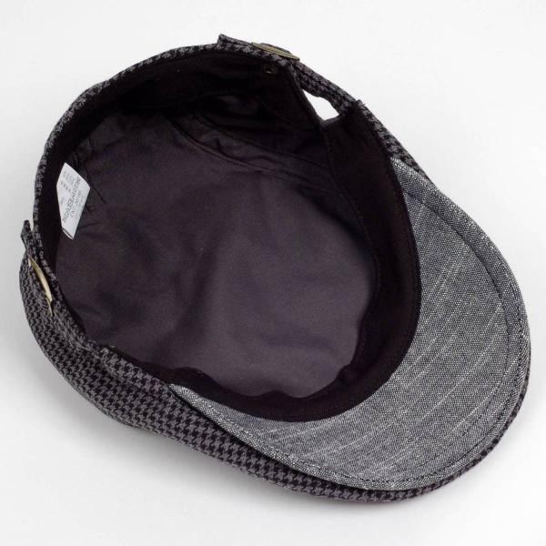 ハンチング メンズ レディース ブラック サマー ハウンドトゥース マイクロ千鳥 帽子 58cm サイド調整スナップベルト付き BLACK|coconoco|05