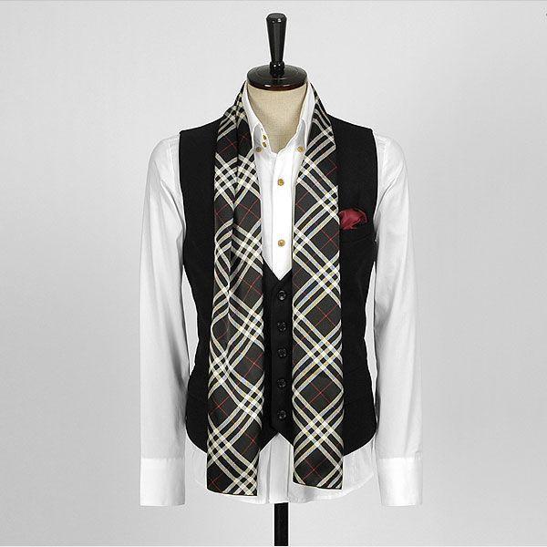 チェック柄・ブラック・ネクタイとスカーフの特徴を合わせた「ネックスカーフ」「ストール」「マフラー」 NTF12|coconoco|02