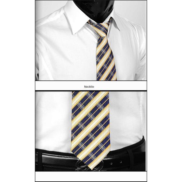 ネクタイ メンズ ワンタッチネクタイ ストライプ チェック ネイビー&ゴールド・イエロー  大剣幅8.5cm ntm6089|coconoco|02