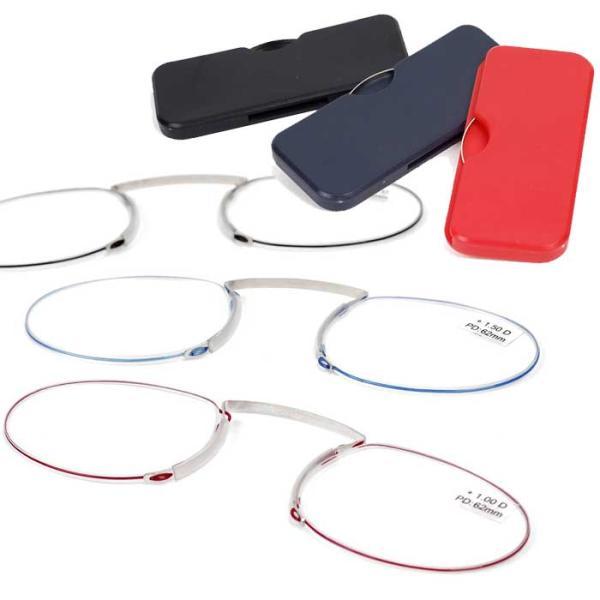 老眼鏡 おしゃれな コンパクト 薄型 ルーペ 鼻掛け ノーズクリップ 読書 メガネ 持ち運び便利 ファッショナブルでオシャレ リーディンググラス カード型 ケース