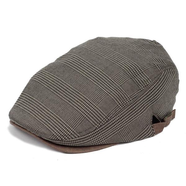 ハンチング帽 メンズ グレンチェック ブラウン ベージュ 秋 冬 ハンチング キャップ 帽子 フリー(58cm) 調整可能 レディース兼用|coconoco