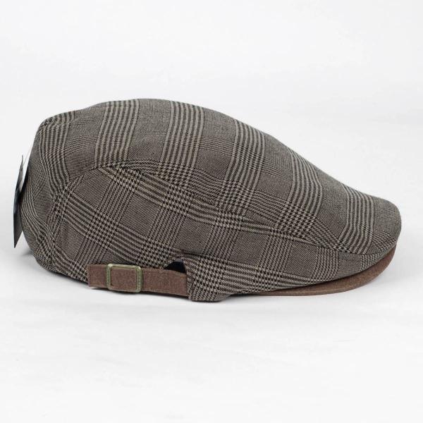 ハンチング帽 メンズ グレンチェック ブラウン ベージュ 秋 冬 ハンチング キャップ 帽子 フリー(58cm) 調整可能 レディース兼用|coconoco|03
