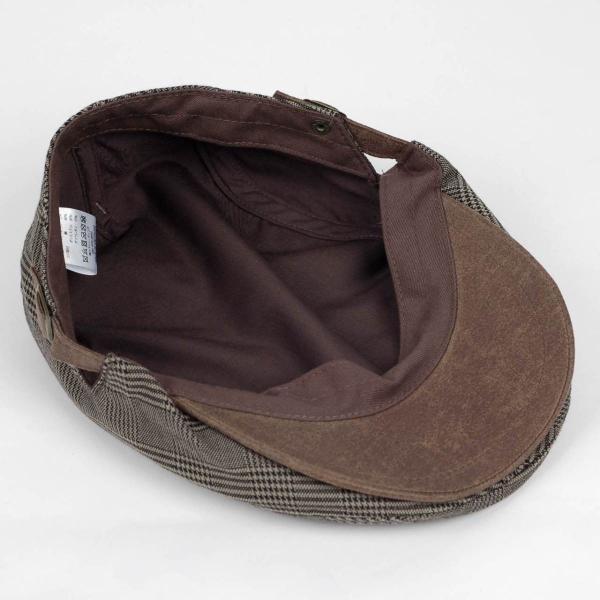 ハンチング帽 メンズ グレンチェック ブラウン ベージュ 秋 冬 ハンチング キャップ 帽子 フリー(58cm) 調整可能 レディース兼用|coconoco|06