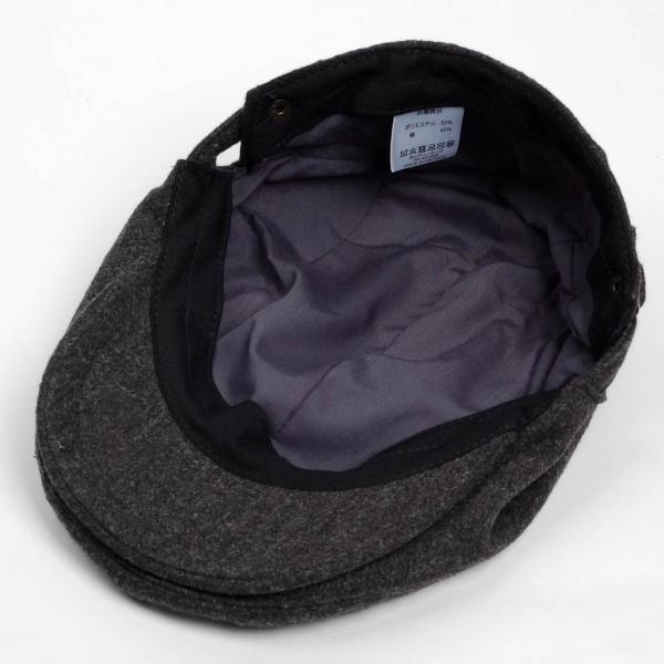 ハンチング帽 メンズ 秋 冬 シーズン グレー 灰色 ソリッド ツイード 毛織 4枚はぎ パッチワーク 接ぎ合わせ ハンチング キャップ 帽子 サイズ 58cm 調整可能 coconoco 05