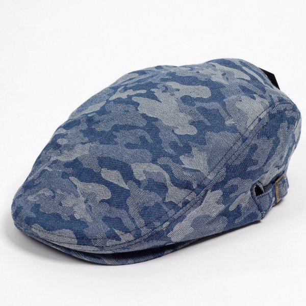 ハンチング メンズ レディース ネイビー デニム カモ 迷彩柄 帽子 58cm サイドスナップ・キャップ 調整ベルト付き NAVY|coconoco