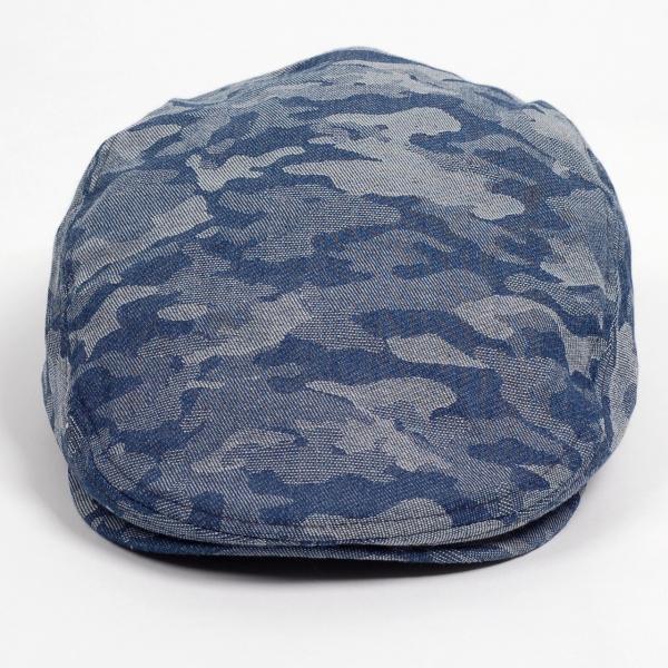 ハンチング メンズ レディース ネイビー デニム カモ 迷彩柄 帽子 58cm サイドスナップ・キャップ 調整ベルト付き NAVY|coconoco|02