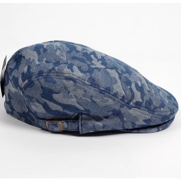 ハンチング メンズ レディース ネイビー デニム カモ 迷彩柄 帽子 58cm サイドスナップ・キャップ 調整ベルト付き NAVY|coconoco|03