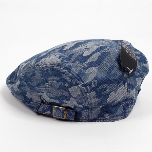 ハンチング メンズ レディース ネイビー デニム カモ 迷彩柄 帽子 58cm サイドスナップ・キャップ 調整ベルト付き NAVY|coconoco|04