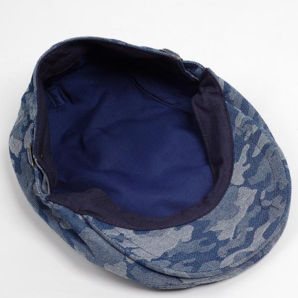 ハンチング メンズ レディース ネイビー デニム カモ 迷彩柄 帽子 58cm サイドスナップ・キャップ 調整ベルト付き NAVY|coconoco|05