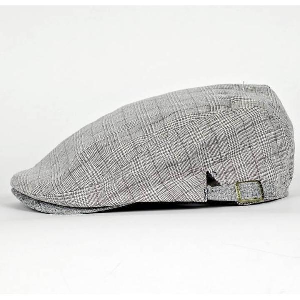 ハンチング グレンチェック メンズ グレー 灰色 サマー スタンダード ハンチング キャップ ハンチング帽子 フリーサイズ (58cm) coconoco