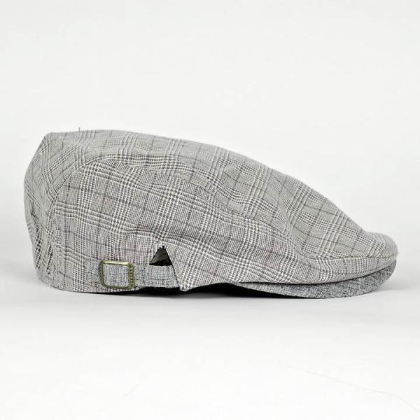 ハンチング グレンチェック メンズ グレー 灰色 サマー スタンダード ハンチング キャップ ハンチング帽子 フリーサイズ (58cm) coconoco 02