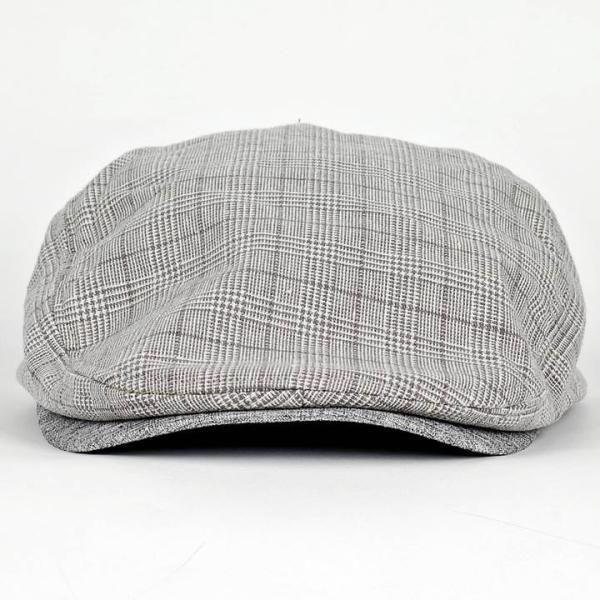 ハンチング グレンチェック メンズ グレー 灰色 サマー スタンダード ハンチング キャップ ハンチング帽子 フリーサイズ (58cm) coconoco 03