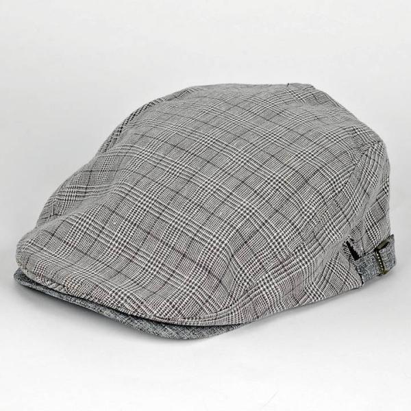 ハンチング グレンチェック メンズ グレー 灰色 サマー スタンダード ハンチング キャップ ハンチング帽子 フリーサイズ (58cm) coconoco 04