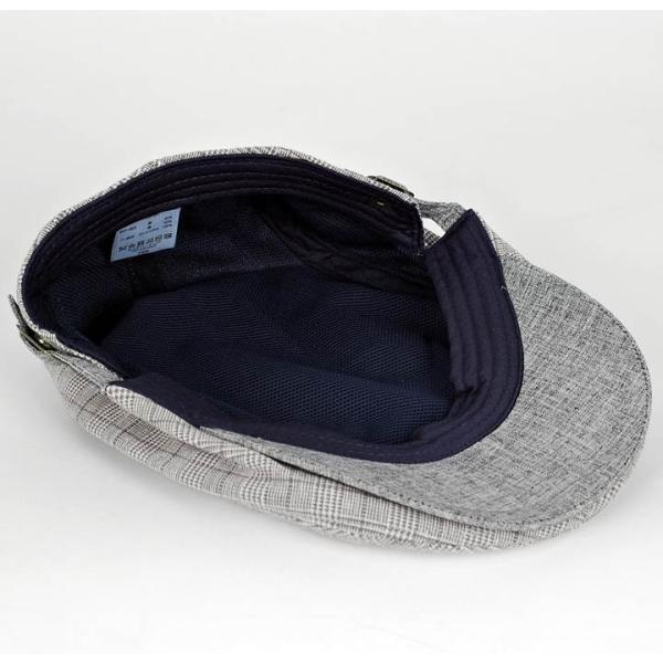 ハンチング グレンチェック メンズ グレー 灰色 サマー スタンダード ハンチング キャップ ハンチング帽子 フリーサイズ (58cm) coconoco 07