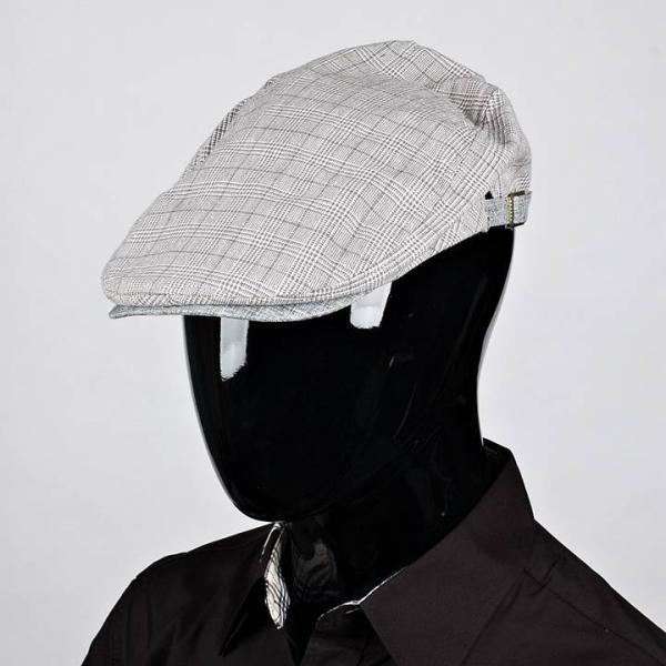 ハンチング グレンチェック メンズ グレー 灰色 サマー スタンダード ハンチング キャップ ハンチング帽子 フリーサイズ (58cm) coconoco 08