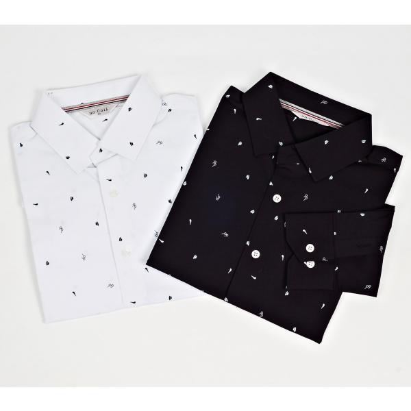 ドレスシャツ メガネ ハット タバコパイプ メンズアイテム 伸びる生地 長袖 ワイシャツ スリムライン ネイビーとホワイト 2色|coconoco|05