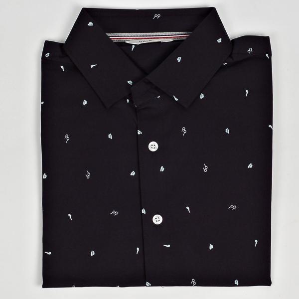 ドレスシャツ メガネ ハット タバコパイプ メンズアイテム 伸びる生地 長袖 ワイシャツ スリムライン ネイビーとホワイト 2色|coconoco|07