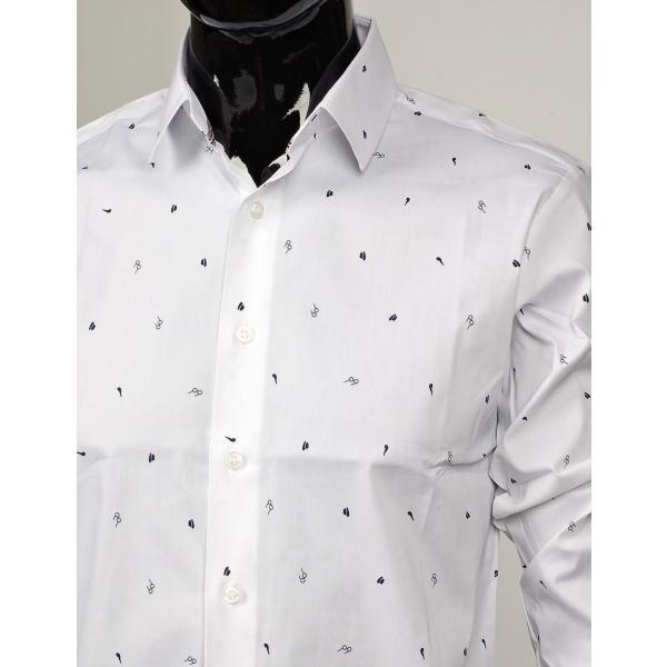 ドレスシャツ メガネ ハット タバコパイプ メンズアイテム 伸びる生地 長袖 ワイシャツ スリムライン ネイビーとホワイト 2色|coconoco|09