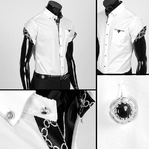 ワイシャツ メンズ 半袖  yシャツ スリム シャツ エリや袖口裏がチェーン柄 配色  キュービックボタン スパン素材 3色 yp12|coconoco|02