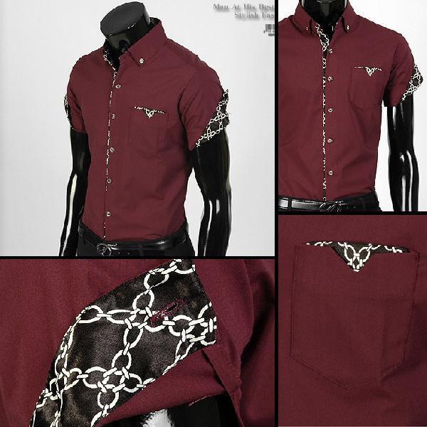 ワイシャツ メンズ 半袖  yシャツ スリム シャツ エリや袖口裏がチェーン柄 配色  キュービックボタン スパン素材 3色 yp12|coconoco|03