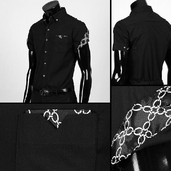 ワイシャツ メンズ 半袖  yシャツ スリム シャツ エリや袖口裏がチェーン柄 配色  キュービックボタン スパン素材 3色 yp12|coconoco|04