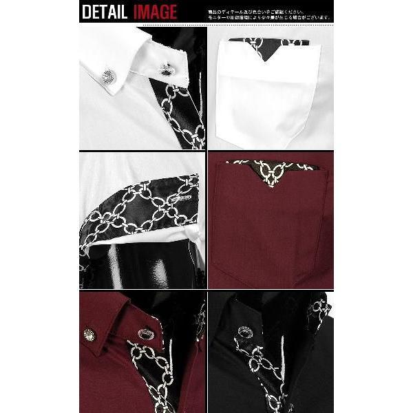 ワイシャツ メンズ 半袖  yシャツ スリム シャツ エリや袖口裏がチェーン柄 配色  キュービックボタン スパン素材 3色 yp12|coconoco|05