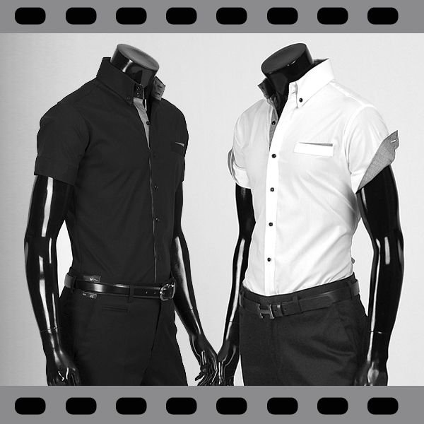 ワイシャツ メンズ 半袖 ストレッチ スリムフィット ドゥエボットーニ ボタンダウン ポケットチーフ飾り yシャツ 半袖 シャツ  ブラック&ホワイト ypst03|coconoco
