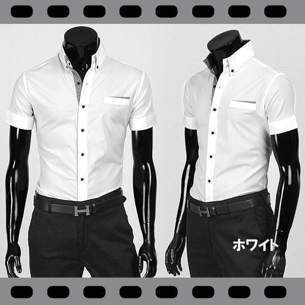 ワイシャツ メンズ 半袖 ストレッチ スリムフィット ドゥエボットーニ ボタンダウン ポケットチーフ飾り yシャツ 半袖 シャツ  ブラック&ホワイト ypst03|coconoco|02