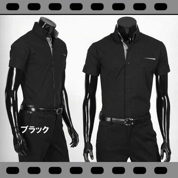 ワイシャツ メンズ 半袖 ストレッチ スリムフィット ドゥエボットーニ ボタンダウン ポケットチーフ飾り yシャツ 半袖 シャツ  ブラック&ホワイト ypst03|coconoco|03