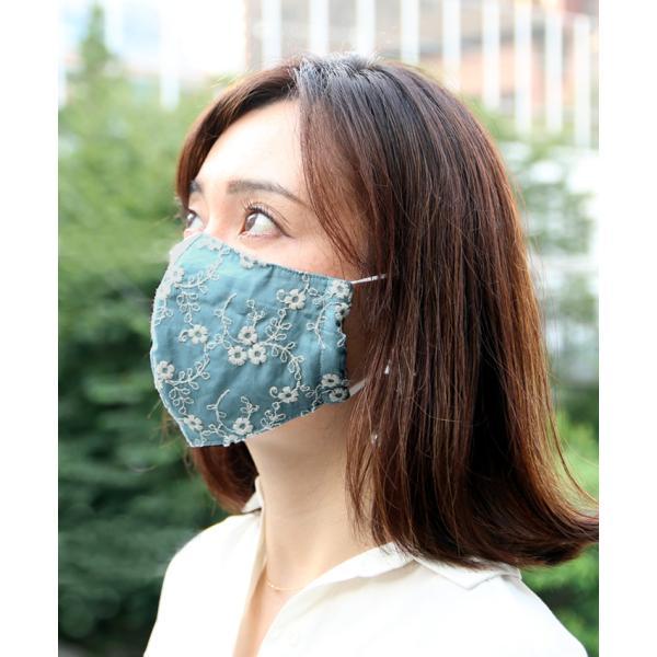 マスク メ0▼ 冷感 接触冷感 レース 刺繍 立体マスク 日本製 洗える おしゃれ 夏用 ひんやりマスク ひんやり 冷感マスク|cocorocreation|12