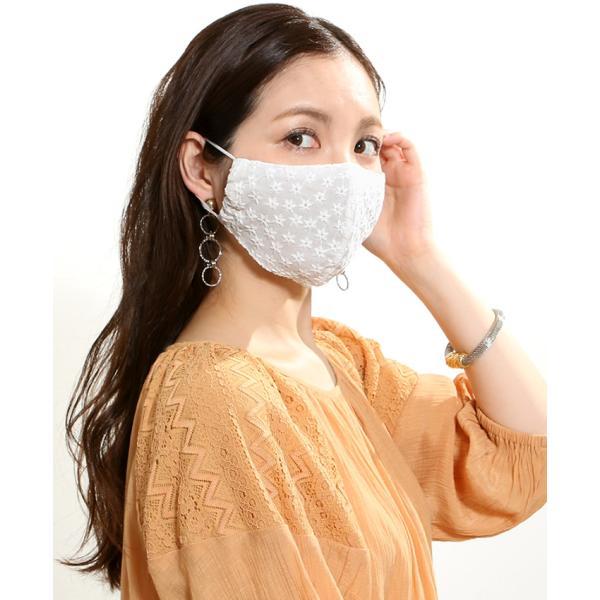 マスク メ0▼ 冷感 接触冷感 レース 刺繍 立体マスク 日本製 洗える おしゃれ 夏用 ひんやりマスク ひんやり 冷感マスク|cocorocreation|06