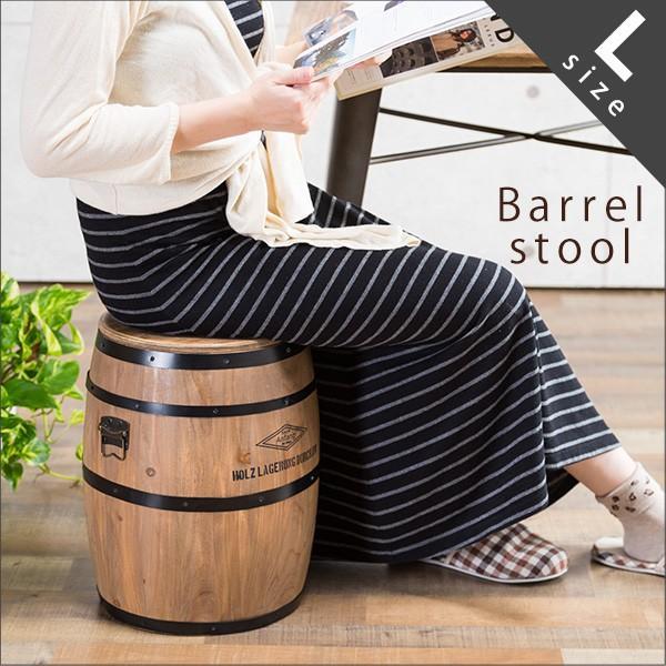 RoomClip商品情報 - スツール 樽型 Lサイズ 木製スツール 収納 インテリア イス 椅子 おしゃれ 木製 アンティーク