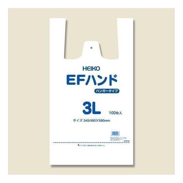 シモジマ:HEIKO レジ袋 EFハンド ハンガータイプ 3L 100枚 006645916
