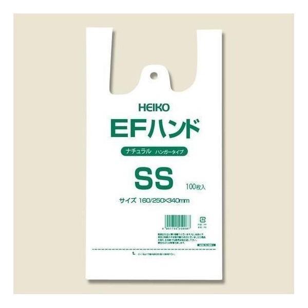 シモジマ:HEIKO レジ袋 EFハンド ハンガータイプ SS ナチュラル(半透明) 100枚 006645921