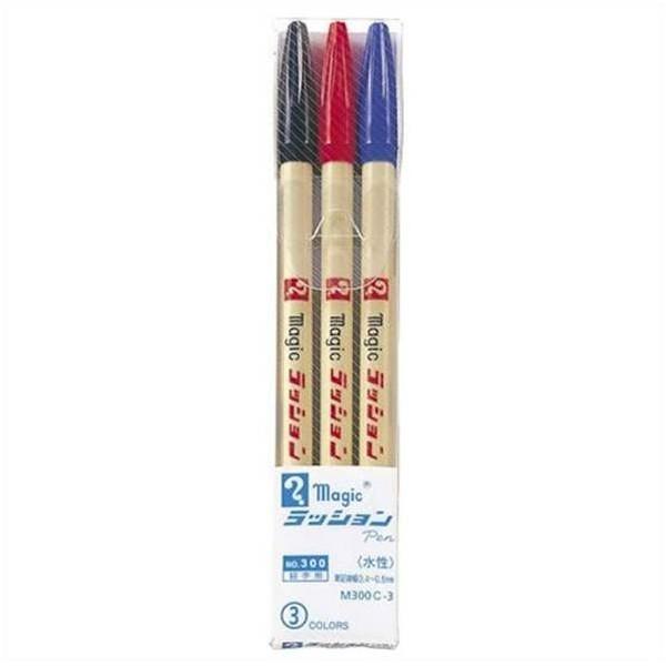 寺西化学:ラッションペン細字 3色セット インク色:黒,赤,青 M300C-3 02371