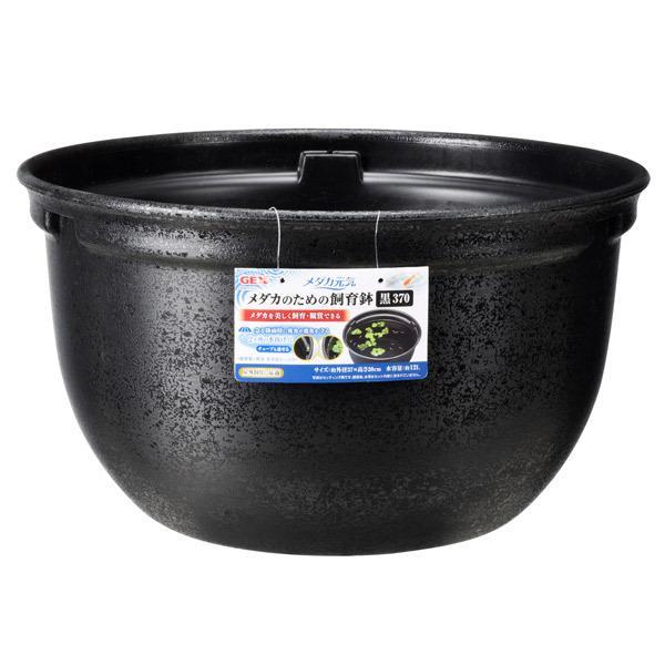 ジェックス:メダカ元気メダカのための飼育鉢黒370アクアリウムめだか水槽鉢はち屋外容器飼育