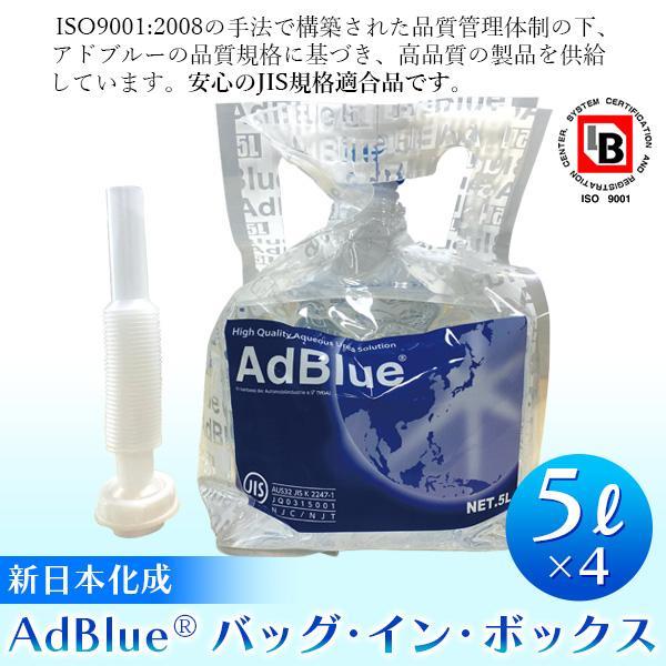 (あすつく)標準送料込!新日本化成:AdBlue(アドブルー) (バッグ・イン・バッグ)5L×4個 尿素水溶液